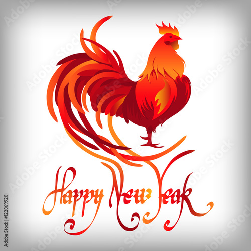 """Red rooster. Happy Chinese new year 2017. Vector"""" Stock image and ..."""