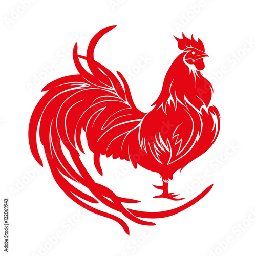 """Red rooster. Happy Chinese new year 2017. Vector"" Stock ..."
