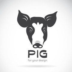 Vector of a pig head on white background. Animal Design.