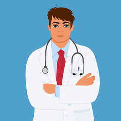 physician, doctor, male, vector illustration