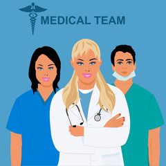 medical staff, team, physician, doctor, vector illustration