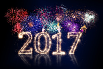 happy new year 2017 background with  fireworks and spark pyro number