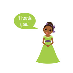 Cute cartoon princess with speech bubble Thank you for game design vector illustration