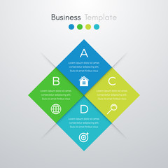 Vector illustration of four square infographics