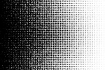 Vector halftone transition pattern made of dots with random size circles.