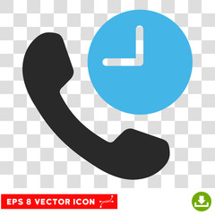 Vector Phone Time EPS vector pictogram. Illustration style is flat iconic bicolor blue and gray symbol on a transparent background.
