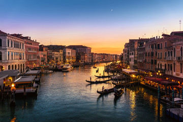 Grand Canal view from Rialto Bridge at sunset, Venice, Italy