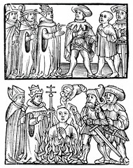 Church transfers heretic to civil authorities, which burns him and saves his soul (woodcut from 15th century)