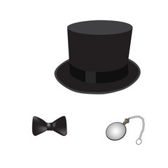Gentelman like a sir set. Cylinder bow tie and monocle. Vector illustration.