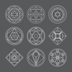 Alchemical round vector set.