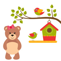cartoon birds and birdhouse on a branch and teddy