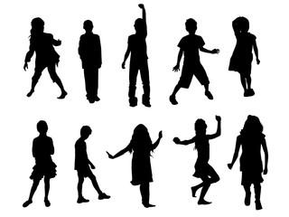 Vector children silhouettes