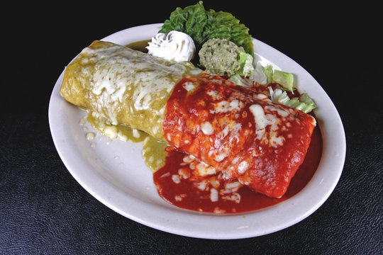 Smothered Burrito (Red and Green Sauce)