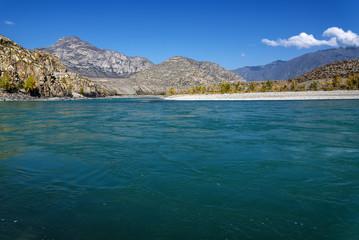 mountain river turquoise water autumn