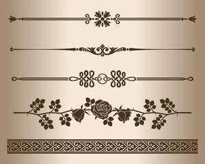 Design elements - decorative line dividers and ornaments.
