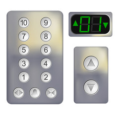 Realistic Control panel of the elevator on a white background. M