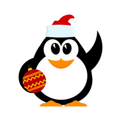 Little cheerful penguin with Christmas ball in hat of Santa Clau