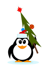 Little cheerful penguin with Christmas tree in hat of Santa Clau