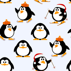 Vector seamless pattern with young penguins playing. Penguins sk