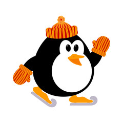 Vector illustration of a cute little penguin in a knitted cap an
