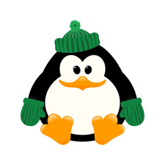 Vector illustration of a young cute penguin in a knitted cap and