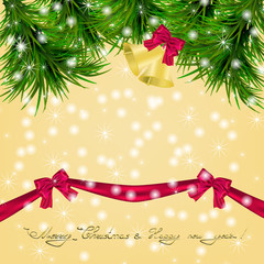 Christmas card with Christmas tree and jingle bells