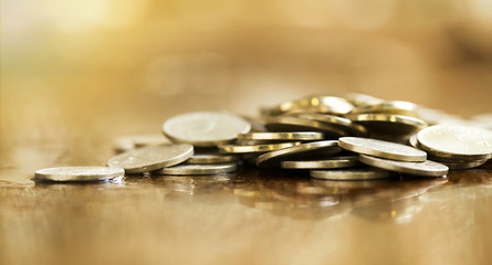 Golden coins - money savings concept banner