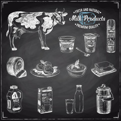 Vector hand drawn Illustration with milk products.