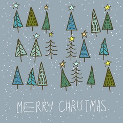 set of 15 different fir, christmas trees hand drawn style on snowy background