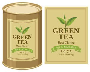 Vector illustration of a tin can with label of green tea