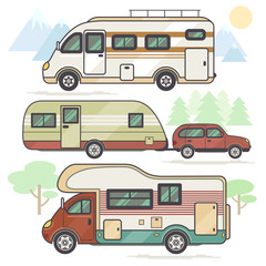 The vehicles for travel and leisure set.