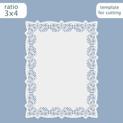 Laser cut wedding invitation card template with openwork border.  Cut out the paper card with lace pattern.  Greeting card template for cutting plotter. Vector.