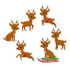Funny Reindeer Christmas set. Holiday cartoon vector illustration.