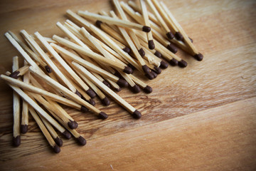 a lot of matches on a wooden background, wood background, matche