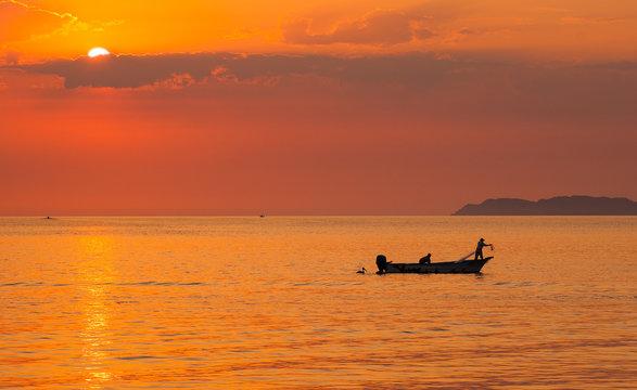 Silhouette of Bait Fishermen off Loreto in Sea of Cortez