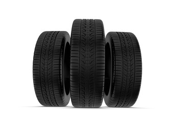 Rendering black tires, isolated on white background.