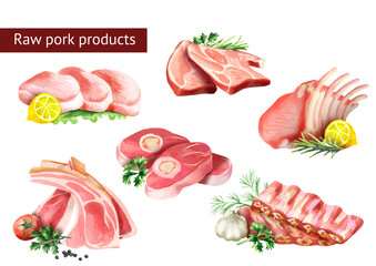 Raw pork products set. Watercolor