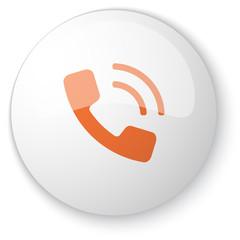 Glossy white web button with orange Phone icon on white backgrou