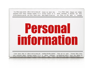 Security concept: newspaper headline Personal Information