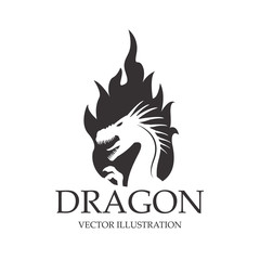 Dragon cartoon inside flame icon. Chinese asian fantasy and animal theme. Isolated and silhouette design. Vector illustration