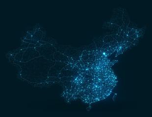 Wall Mural - Abstract telecommunication network map - China