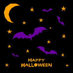 Halloween bat card background. Abstract purple bat in halloween