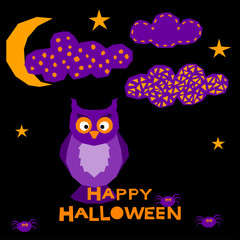 Halloween owl card background.