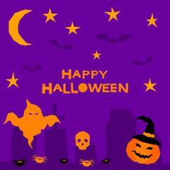 Halloween card background. Abstract purple halloween graveyard.