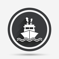 Ship or boat sign icon. Shipping delivery symbol.