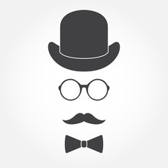 Old fashioned gentleman accessories icons set: hat, glasses, mustache and bowtie. Vintage design. Vector illustration.