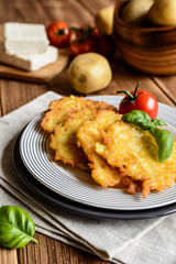 Fried potato pancakes stuffed with cheese