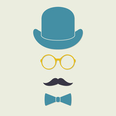Old fashioned gentleman accessories icons set: hat, glasses, mustache and bowtie. Vintage design. Colorful vector illustration.