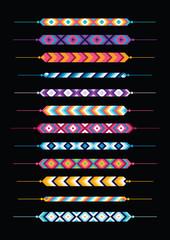 Set of friendship hippy bracelets. Multicolor vector illustration