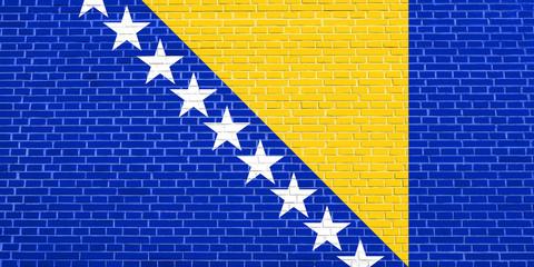 Flag of Bosnia and Herzegovina, brick wall texture